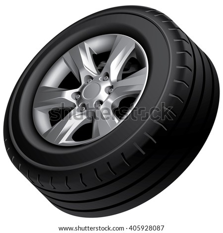High quality vector image of automobile wheel, isolated on white background. File contains gradients, blends and transparency. No strokes. - stock vector