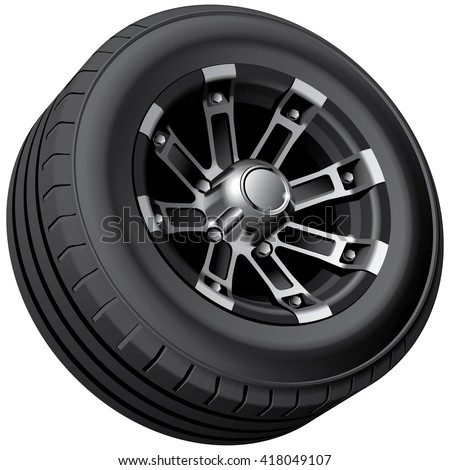 High quality vector image of offroad vehicles wheel, isolated on white background. File contains gradients, blends and transparency. No strokes. - stock vector