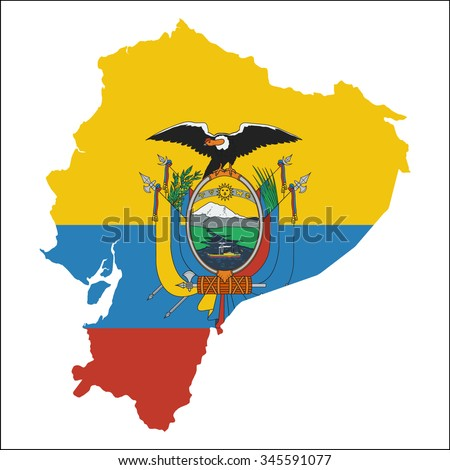 High resolution Ecuador map with country flag. Flag of the Ecuador  overlaid on detailed outline map isolated on white background - stock vector