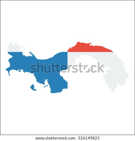 High resolution Panama map with country flag. Flag of the Panama  overlaid on detailed outline map isolated on white background - stock vector