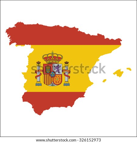 High resolution Spain map with country flag. Flag of the Spain  overlaid on detailed outline map isolated on white background - stock vector