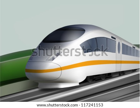 High Speed Expres Train Landscape - stock vector