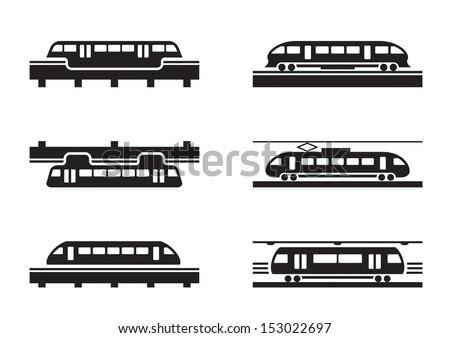 High-speed rail trains - vector illustration - stock vector