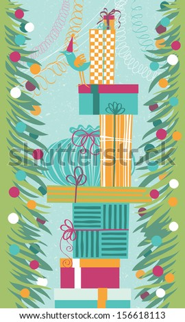 High stack of wrapping gift boxes - stock vector