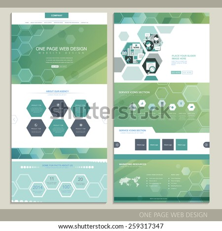 high-tech concept one page website design with hexagon elements - stock vector