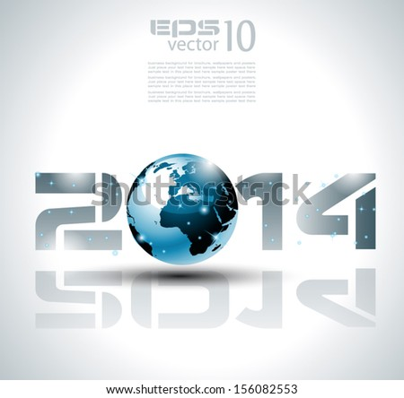 High tech 2014 happy new year background for cover or posters. - stock vector