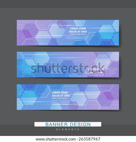 high-tech style banner template design with translucent hexagons elements - stock vector