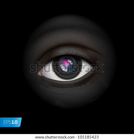 High-tech technology background with camera lens eye, vector Eps10 image. - stock vector