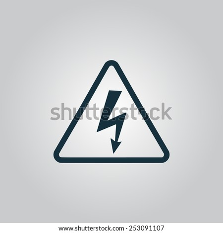 High voltage Flat web icon, sign or button isolated on grey background. Collection modern trend concept design style vector illustration symbol - stock vector