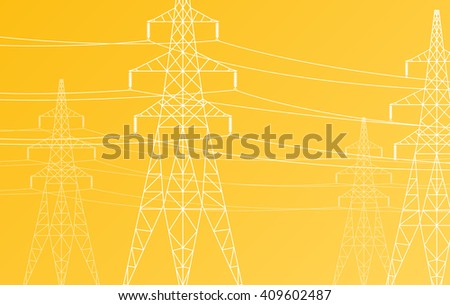 High voltage power line grid vector yellow background - stock vector