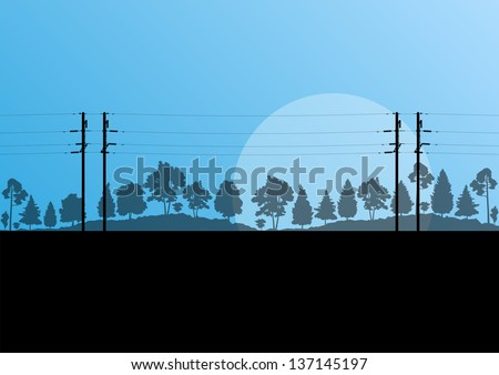 High voltage power line vector background - stock vector