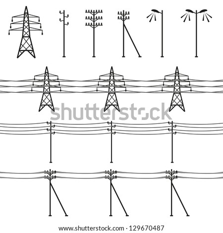 High voltage power lines - stock vector
