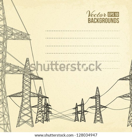High voltage power lines over sepia backdrop. Vector illustration, eps 10, contains transparencies. - stock vector