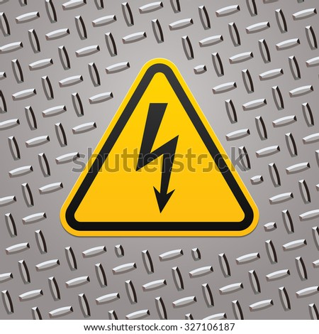 High voltage sign on metal plate - stock vector