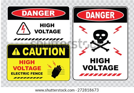 high voltage sign or electrical safety sign (high voltage electric fence, skull) - stock vector