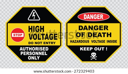 high voltage sign or electrical safety sign ( stop do not entry high  voltage, authorized personnel only, danger of death, hazardous voltage  inside). - stock vector