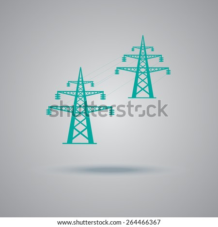 High, voltage, tower, line, vector, illustration, icon, flat. - stock vector