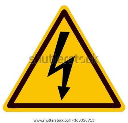 High Voltage Triangular Warning Sign, Vector Illustration.  - stock vector
