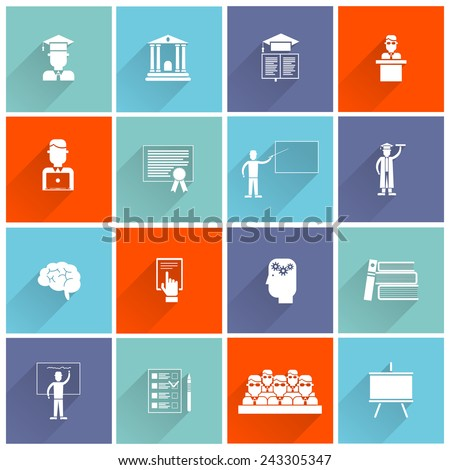 Higher education college university studying and graduation icons flat set isolated vector illustration - stock vector