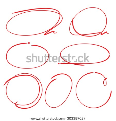highlighter circle set, hand drawn markers - stock vector