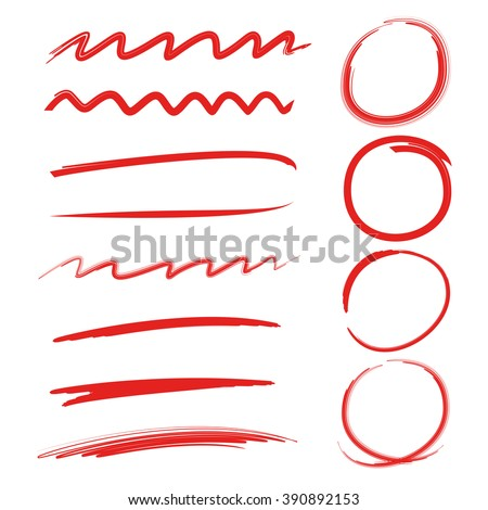highlighter circles, abstract doodle writing design, brush lines, underlines - stock vector