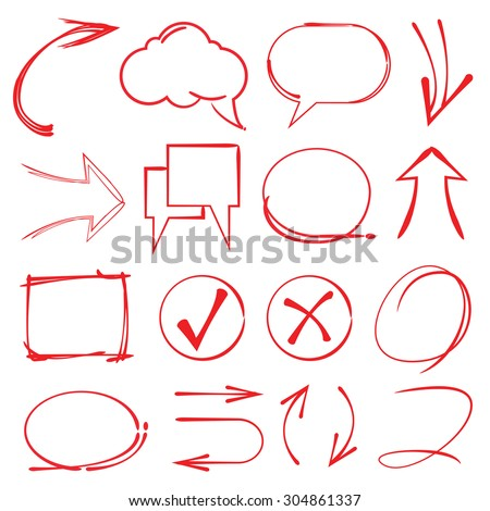 highlighter circles speech bubble, arrows - stock vector