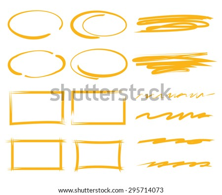 highlighter elements, frames, underline - stock vector