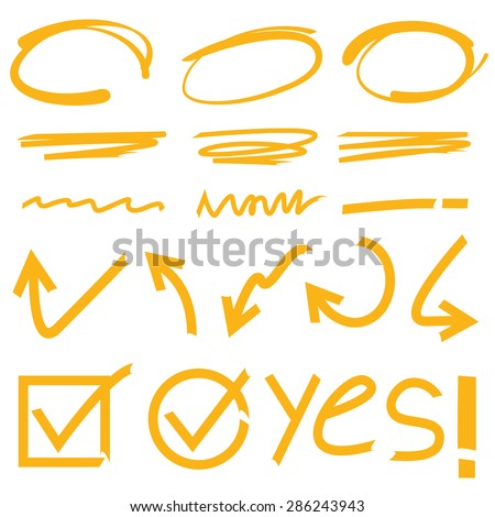highlighter elements, hand drawn marker set - stock vector