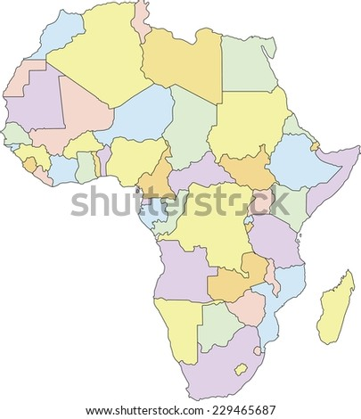 Highly Detailed Africa Political Map. - stock vector