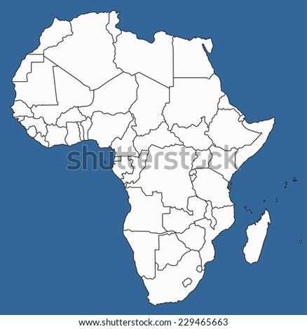 Highly Detailed Africa Silhouette with borders, vector illustration. White&Blue. - stock vector
