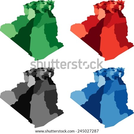 Highly Detailed Algeria political map in four different color. Isolated, editable. - stock vector