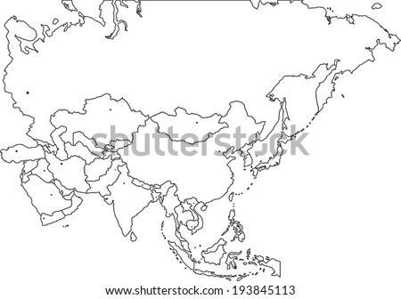 Highly Detailed Asia Blind Map With Capital Dots. - stock vector