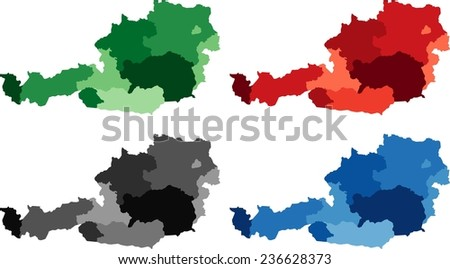 Highly Detailed Austria political map in four different color. Isolated, editable. - stock vector