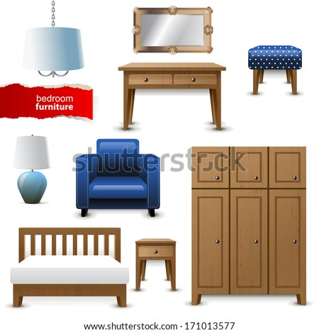 Highly detailed bedroom furniture icons - stock vector