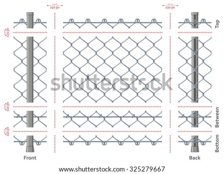 Highly detailed chain-link fence with no gradients, seamless after quick edit - stock vector