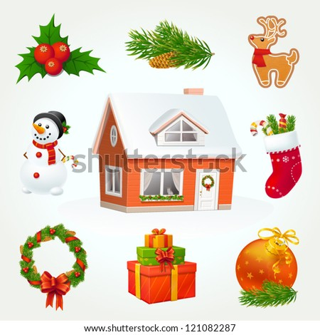Highly detailed Christmas icon set - stock vector