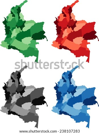 Highly Detailed Colombia political map in four different color. Isolated, editable. - stock vector