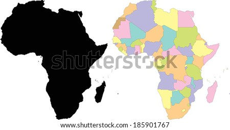 Highly Detailed Continent Silhouette and Political Map - Africa - stock vector