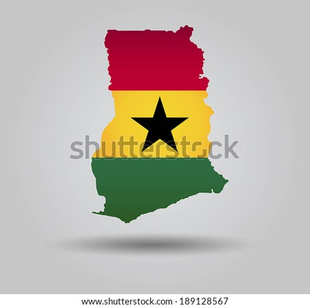Highly Detailed Country Silhouette With Flag and 3D effect - Ghana - stock vector