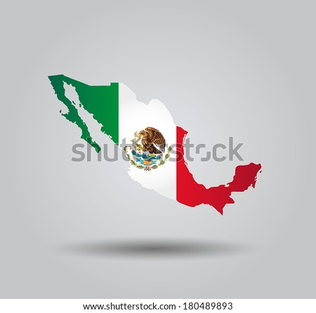 Highly Detailed Country Silhouette With Flag and 3D effect - Mexico  - stock vector