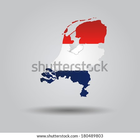 Highly Detailed Country Silhouette With Flag and 3D effect - Netherlands - stock vector