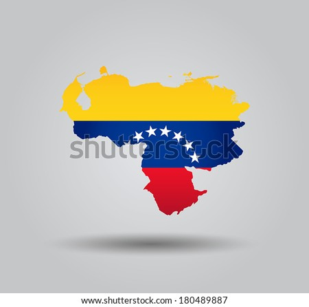 Highly Detailed Country Silhouette With Flag and 3D effect - Venezuela  - stock vector