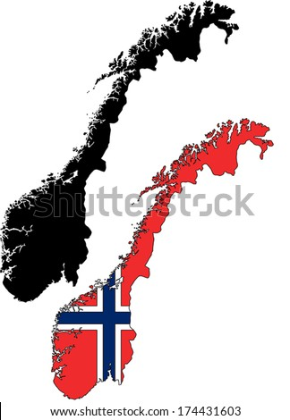Highly Detailed Country Silhouette With Flag - Norway - stock vector