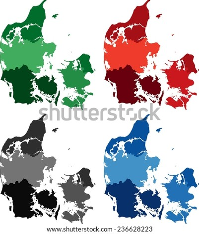 Highly Detailed Denmark political map in four different color. Isolated, editable. - stock vector
