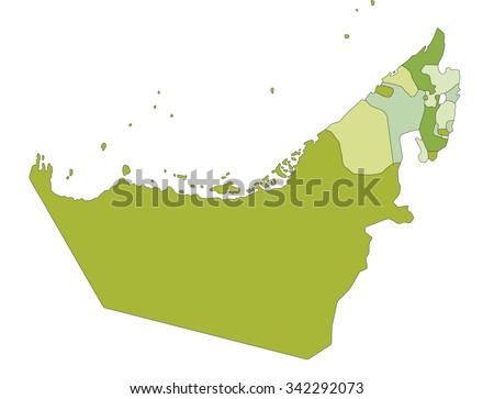 Highly detailed editable political map. United Arab Emirates. - stock vector