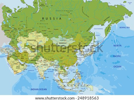 Highly detailed editable political map with separated layers. Asia. - stock vector