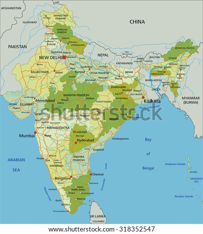 Highly detailed editable political map with separated layers. India. - stock vector