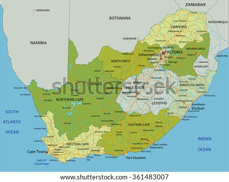 Highly detailed editable political map with separated layers. South Africa. - stock vector