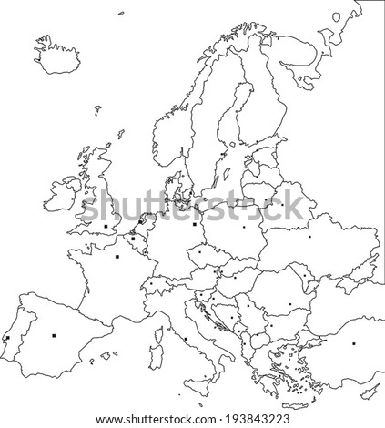 Highly Detailed Europe Blind Map With Capital Dots. - stock vector