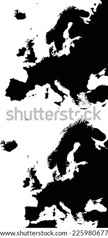 Highly detailed Europe map. Two different projection. - stock vector